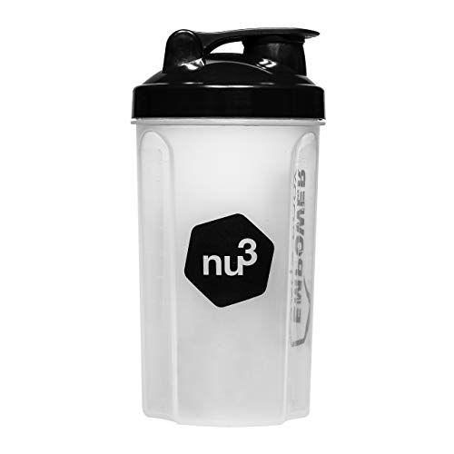 nu3 Protein Shaker | 700 ml capacity | for fit shakes, diet, BCAA or other drinks | with stainless steel feather ball | Blender and bottle with screw cap and flap lid closure | smoothie approved | easy to clean