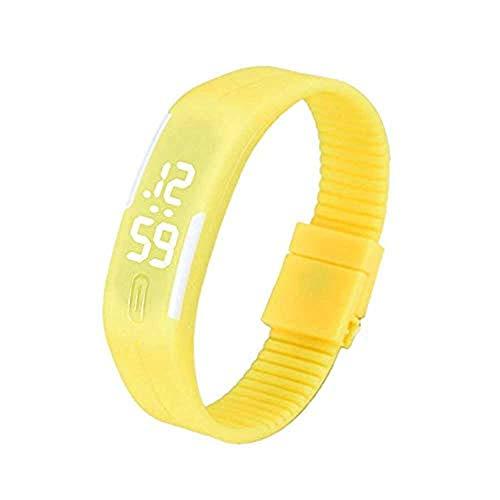 WSSVAN Toque creativo LED inteligente pulsera reloj hombres y mujeres estudiantes de la escuela secundaria grande y media exterior impermeable reloj electrónico reloj de regalo jalea (Amarillo)