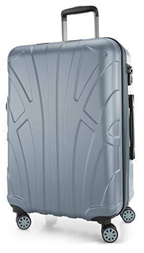 Suitline Hartschalen-Koffer Koffer Trolley Rollkoffer Reisekoffer, TSA, 66 cm, ca. 58 Liter, 100% ABS Matt, Pool Blue