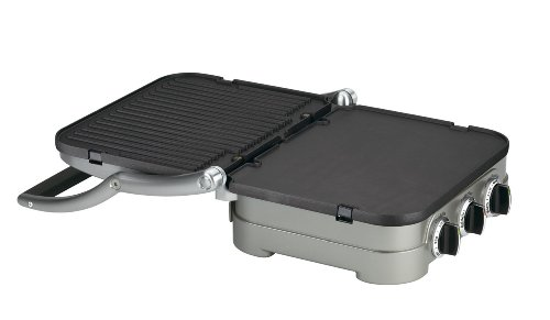 """Cuisinart GR-4NP1 GR-4N 5-in-1 Griddler, 13.5""""(L) x 11.5""""(W) x 7.12""""(H), Silver with Silver/Black Dials"""