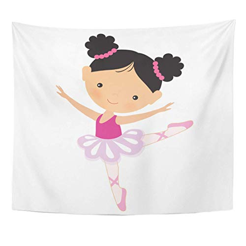 Elinna Tapestry Pink Cartoon Ballerina Ballet Cute Dancer Home Decor Wall Hanging For Living Room Bedroom Dorm 60x80 Inches 60x51in(130x150cm)