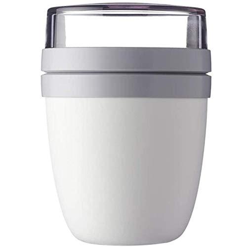 MJJCY 2-en-1 700ml Copa de Almuerzo Creative Portátil Viaje Portátil Fresco Guarding Bow out Buttm Box Yogurt Nut Fresh Mantenga Taza Sopa Cans (Color : 1PC White)