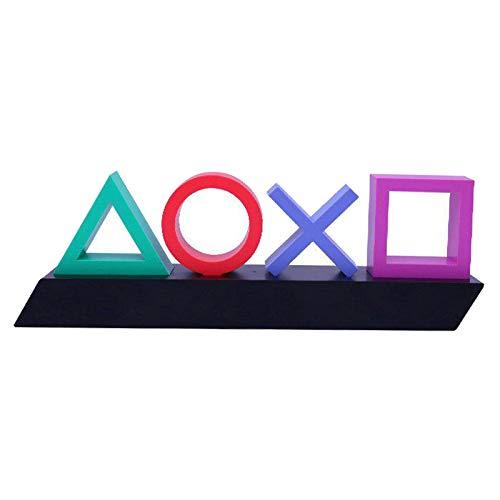 Baoblaze Playstation Symbole bunt, Spiel Icon Licht Voice Control Neon Licht mit 3 Lichtmodi, Acryl KTV Atmosphäre Lampe Schreibtisch deko, Dimmbare Stimmungslampe Bar Dekoration
