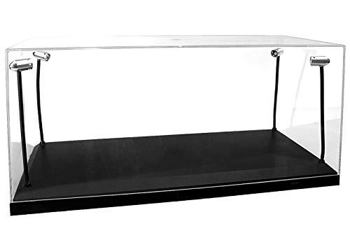 LED Acryl Vitrine - Modellautovitrine mit Beleuchtung für Diecast Modellautos, incl. USB Dimm-Kabel, im Maßstab 1:18, Schwarze Basis, Silberne Scheinwerfer