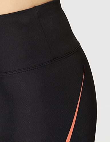 Marca Amazon - AURIQUE Mallas de Deporte Tiro Alto Mujer, Negro (Black/Geranium), 38, Label:S