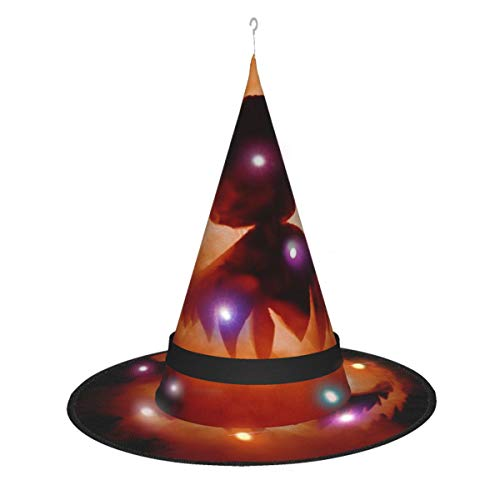 Dihui Pumpkin Lantern Candle Art Festival Flag Lantern01 Halloween Glowing Hat, Outdoor, Garden, Trees, Party Decoration, Outdoor Halloween Decorations, Witch Hat with Lights.