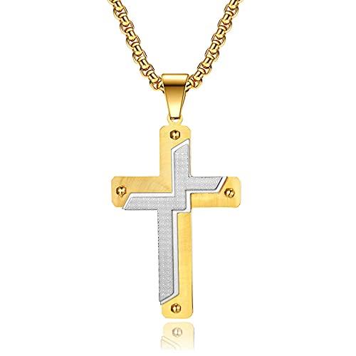 maozuzyy Collar Colgante Joyería Moda Ocio Acero Inoxidable Artículos Cruzados para Hombres Grandes Colgante De Cruz De Oro-Alternativo