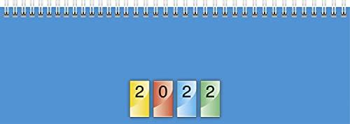 BRUNNEN 1077240992 Tischkalender/Querterminbuch Modell 772, 2 Seiten = 1 Woche, 29,7 x 10,0 cm, Karton-Umschlag vierfarbig, Kalendarium 2022, Wire-O-Bindung
