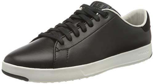 Cole Haan Women's GrandPro Tennis Leather Lace OX Fashion Sneaker, Black/Optic White, 10 B US