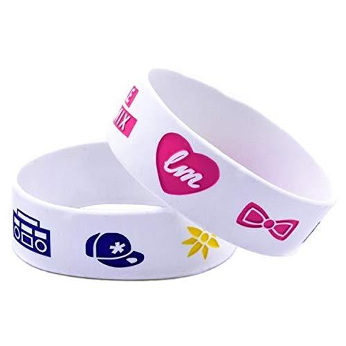 ZJZ Ebay Amazon Hot Little Mix Silikonarmband Hand mit britischen Star-Mädchen Gruppe 1 breites Armband (Color : White)
