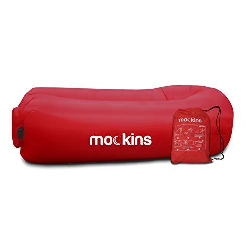 Mockins Tumbona Hinchable de Color Rojo sillas de Playa, sillas de Camping o Hamaca portátil e Incluye Bolsa de Viaje y Bolsillos | Accesorios de Camping fáciles de Usar