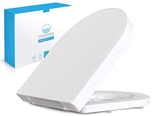 Cosondo PREMIUM Toilettendeckel - WC Sitz mit Absenkautomatik - Klodeckel D-Form weiß – Hochwertige Klobrille - Toilettensitz Klo Deckel abnehmbar - Einfache Reinigung - Toilettenbrille Duroplast