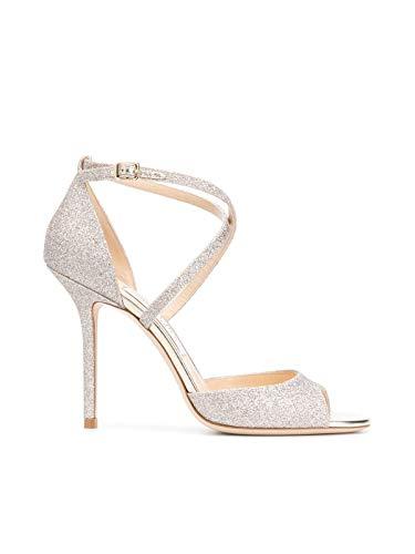 JIMMY CHOO Luxury Fashion Donna EMSY100DGZPLATINUM Argento Tessuto Sandali | Primavera-Estate 20