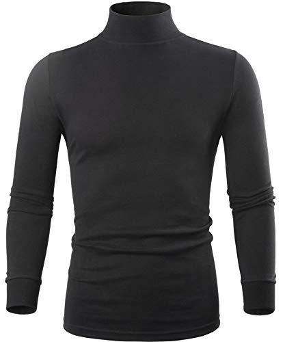 Mens Black Mock Turtleneck Sweaters Long Sleeve Base Layer Slim Fit Turtleneck Shirts Thermal Underwear for Men XS