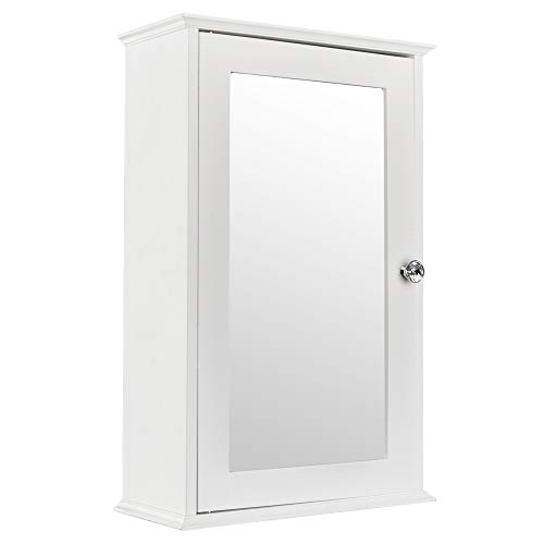 Mirrored Bathroom Cabinet, Multipurpose Kitchen Wall Mount Storage Cabinet with Single Door, Bathroom Medicine Cabinet, White (Single Door)