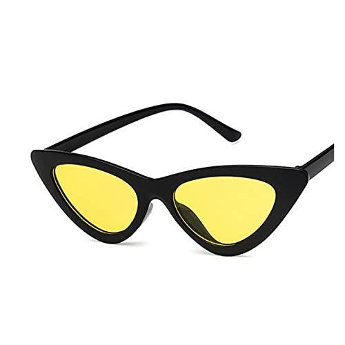 LEYIS Gafas de Montar Gafas de Pesca Retro Vintage Gafas de Sol Vintage Cateye Gafas Sexy Pequeño Gato Ojo Gafas de Sol para Las Mujeres (Color : Black Yellow)