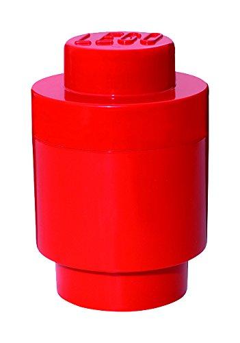 LEGO Aufbewahrungsstein, 1 Noppe, rund, Stapelbare Aufbewahrungsbox, 950 ml, rot