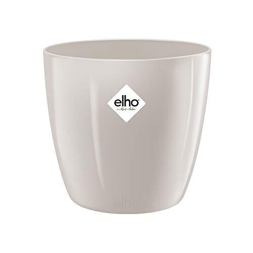 Elho Brussels Diamond Round Maceta Redonda, Warm Grey, 18 cm