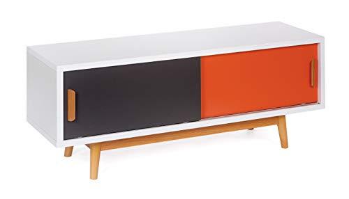 ts-ideen Mobile porta televisore 120x55 cm stile retro in Bianco Grigio e Arancione doppio sportello scorrevole