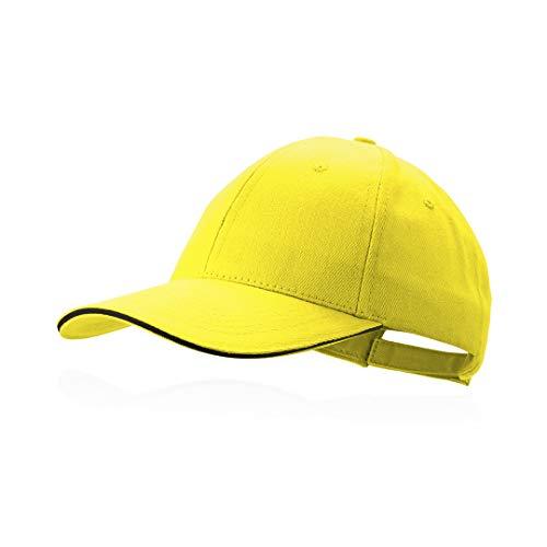 Makito Gorra Amarilla béisbol Padel Golf Gorra 6 Paneles 100% algodón Peinado Cierre Ajustable Gorra Unisex