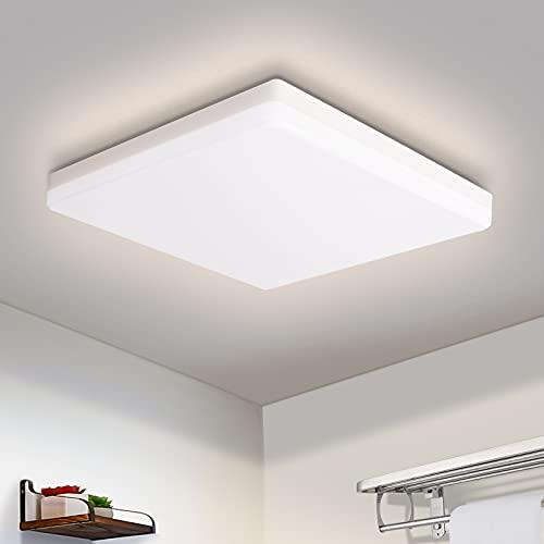 OOWOLF Led Lampara De Techo, 25W Plafón LED Luz De Techo Impermeable Para Baño Dormitorio Cocina Balcón Pasillo Sala de Estar Comedor 1900 lm, 4500K, 30x30cm