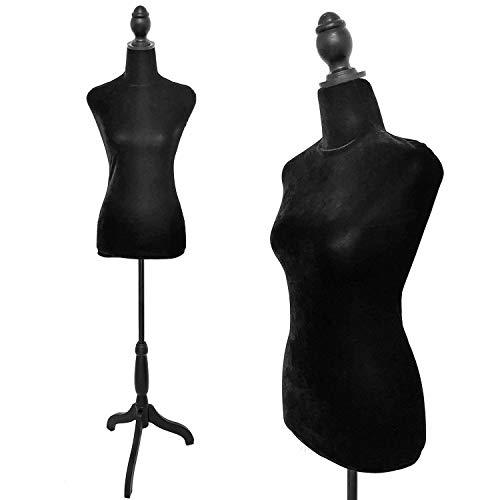 Black Female Dress Form Mannequin Torso Body with Adjustable Tripod