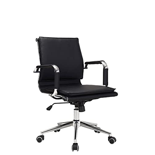 Folding Chair Thickened Cushion Office Chair Lift Swivel Chair Boss Chair Ergonomic Backrest Computer Chair Roller Type Bow Foot Type with Padded (Color : Roller Type, Size : Low Back)