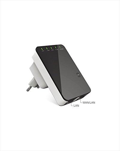 Laptone LNP2602-EU - Adaptador de comunicación por línea eléctrica (WPS, 300 Mbps, 802.11b/g, VoIP), Color Negro y Blanco