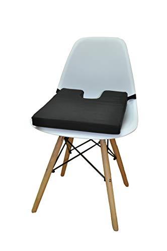 ObboMed SU-2330 Orthopädisches Multifunktions-Sitzkissen, Keilkissen mit Steißbeinausschnitt, Druckentlastung für Hämorrhoiden, Steißbein, Ischias, Hüfte, Baumwollbezug, Schwarz