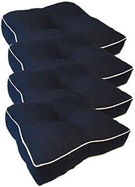 "Suntastic Textured Outdoor/Indoor Seat Cushion Set for Patio Furniture, 18.5"" x 18"" x 4"", Navy (4 Piece Set)"