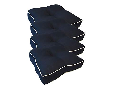 Suntastic Textured Outdoor/Indoor Seat Cushion Set for Patio Furniture, 18.5 x 18 x 4, Navy (4 Piece Set)