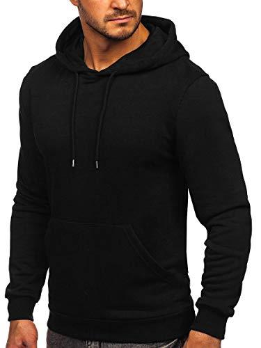 BOLF Herren Kapuzenpullover Hoodie Sweatshirt mit Kapuze Pullover Pulli Langarmshirt Freizeit Sport Fitness Outdoor Casual Style 146253 Schwarz L [1A1]