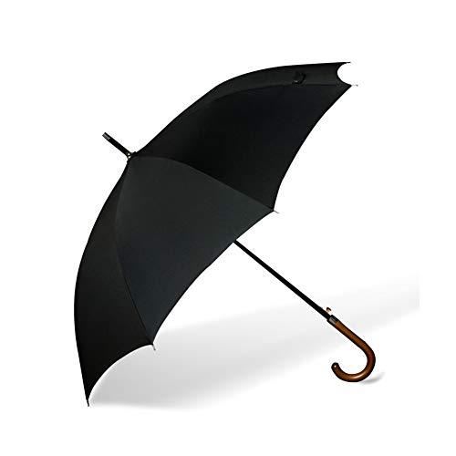 Umbrella Automatischer Regenschirm, Retro-Regenschirm Mit Langem Griff, Sonnenschirm, Massivholzgriff, 110 cm, Freisprech-Tragetasche.