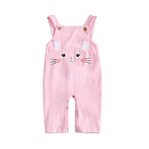 WangsCanis Tuta da Neonato Tuta da Neonato Tuta da Cartone Animato Coniglio Unisex Tuta da Bambino Pantaloni Striscianti 0-18 Mesi Pantaloni Casual per Bambini (Rosa, 0-6 Mesi)