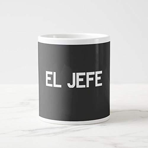 Taza de café gigante El Jefe de cerámica para café, de 11 onzas + caja de regalo gratis