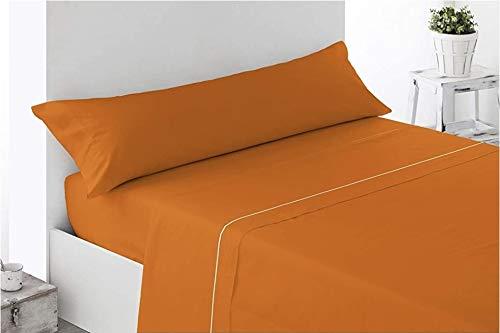 Juego de sábanas Verano 3 Piezas, Super Lisas (Naranja, 90_x_190_200cm)