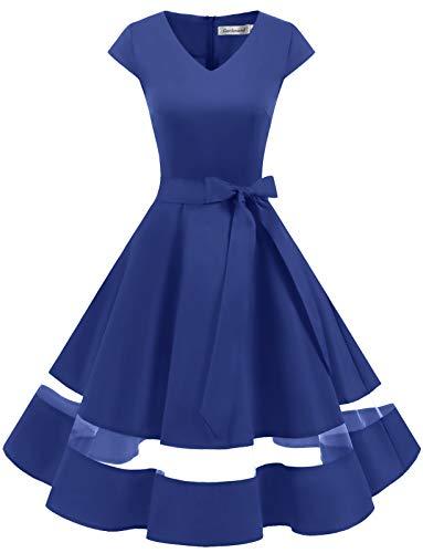 Gardenwed 1950er Vintage Retro Rockabilly Kleider Petticoat Faltenrock Cocktail Festliche Kleider Cap Sleeves Abendkleid Hochzeitkleid Royal Blue XS