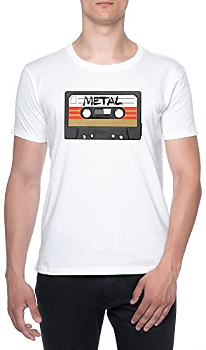 Pesado Metal Música Casete Hombres Camiseta De Manga Corta Blanco Cuello Redondo Men T-Shirt White Round Neck L