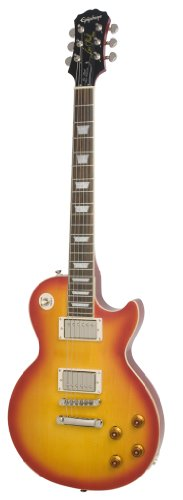 Epiphone Les Paul Tribute Plus Outfit mit Gibson (57 Classic Pickups inklusive Koffer, Faded Cherry Lack, Mahagoni und Ahorn Korpus, '57 Humbuckers, Mahagoni Hals)