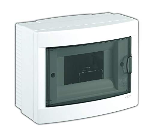 Aufputz Kleinverteiler 6 Module/Sicherungskasten / Verteilerkasten Aufputz IP40, 1-reihig mit Hutschiene + 1 stk. Klemme