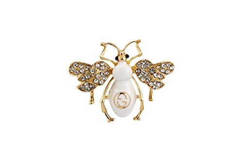 Knighthood White and Gold Power Dressing Bee with Stone Detailing Badge Coat Suit Wedding Gift Party Shirt Collar Accessories Brooch for Men