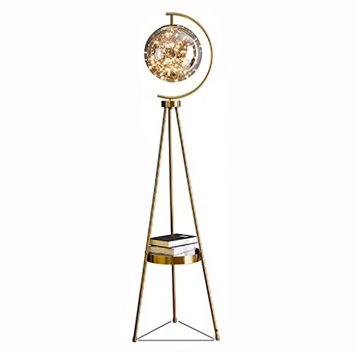 Lámpara de pie-Luna lámpara de pie salón sofá Lado Lujo luz Creativa Bola Redonda Arte Deco Red Rojo nórdico lámpara de Tabla Vertical (Color : Gold-1)