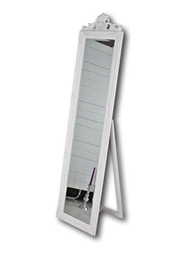 elbmöbel Standspiegel groß weiß antik 180x45cm Holz-Rahmen weißer Landhaus Ankleidespiegel