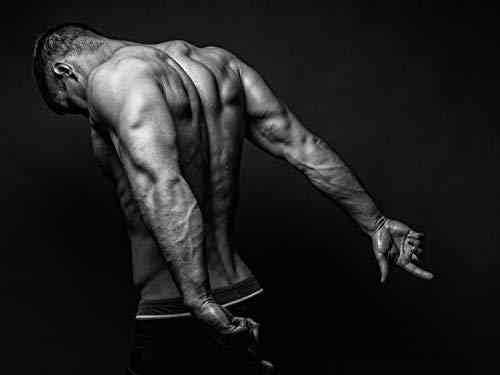 Vlies Tapete XXL Poster Fototapete Fitness Muskeln Delta Trizeps Farbe schwarz weiß, Größe 200 x 150 cm selbstklebend