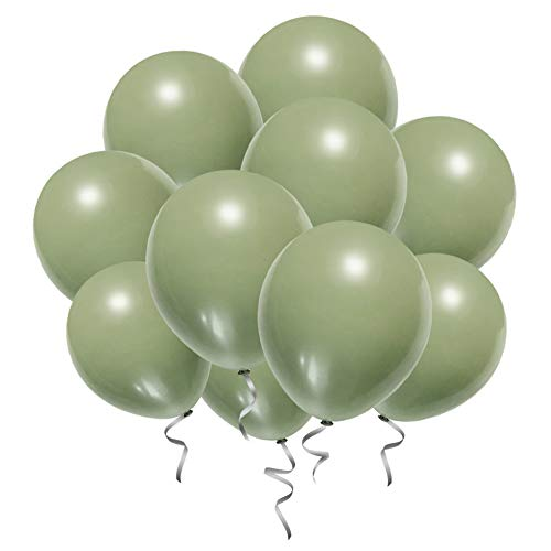 Sage Green Balloons Eucalyptus Bridal Baby Shower Decorations Woodland Theme Birthday Party Balloons- 12 Inch Olive Green Latex Balloons 40 Count