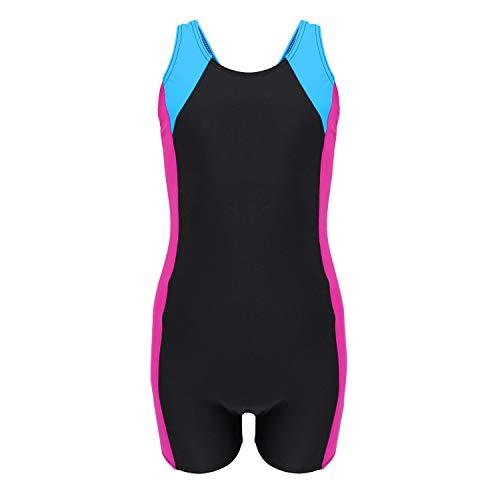 Aquarti Mädchen Badeanzug mit Bein Ringerrücken, Farbe: Schwarz/Amarant/Türkis, Größe: 146