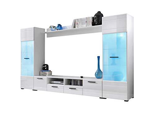 KRYSPOL Wohnwand Switch Anbauwand, Wohnzimmer-Set, Modern Design (Weiß/Weiß Glanz)