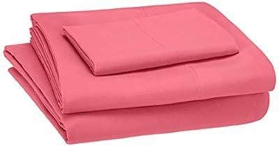 AmazonBasics Kid's Sheet Set - Soft, Easy-Wash Lightweight Microfiber - Twin, Hot Pink