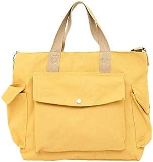 TOOGOO Canvas Beach Bag Shopping Handbag Large Capacity Student Bag Travel Shoulder Messenger Bag White