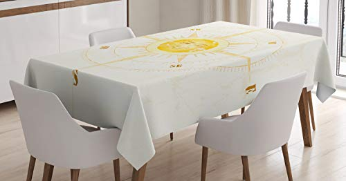 ABAKUHAUS Kompas Tafelkleed, Uitstekende Zeilen Device, Eetkamer Keuken Rechthoekige tafelkleed, 140 x 170 cm, Geel